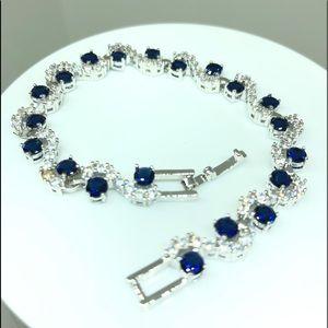 14k White Gold Plated Blue/White CZ Bracelet